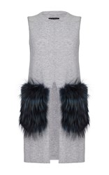 Izaak Azanei Silver Fox Fur Pocket Tunic Grey