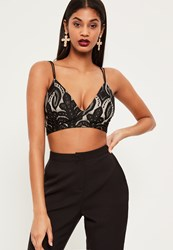 Missguided Black Lace Double Strap Bralet