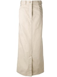 Dries Van Noten Straight Maxi Skirt Nude Neutrals