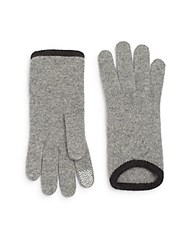 Saks Fifth Avenue Smartphone Capable Trimmed Gloves Grey Black