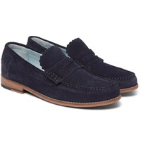 Grenson Ashley Suede Penny Loafers Navy