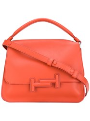 Tod's Double T Tote Women Calf Leather One Size Yellow Orange