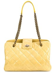 Chanel Vintage Quilted Tote Yellow Orange