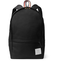 Thom Browne Pebble Grain Leather Trimmed Nylon Backpack Black