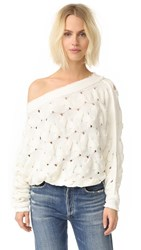 Free People Desert Sands Cable Pullover Ivory