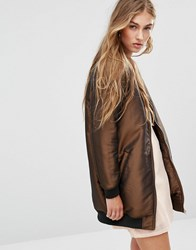 Missguided Longline Padded Bomber Jacket Bronze Gold