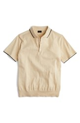 J.Crew Tipped Sweater Polo Heather Sand