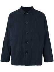 Casey Casey Washed Wax Jacket Men Cotton S Blue