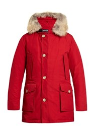 Woolrich Arctic Fur Trimmed Hooded Down Parka Red