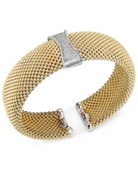 Macy's Diamond Mesh Hinged Bangle Bracelet 1 3 Ct. T.W. In 14K Gold Plated Sterling Silver Yellow Gold