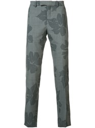 Oamc Floral Print Chino Trousers Men Cotton Cupro Virgin Wool 46 Grey
