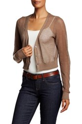Tommy Bahama Anacapa Crop V Neck Linen Blend Cardigan Purple