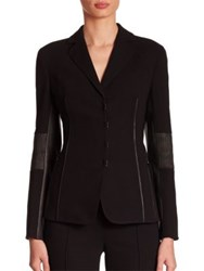 Akris Iago Wool And Leather Jacket Black