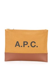 A.P.C. Leather Trimmed Canvas Pouch 60