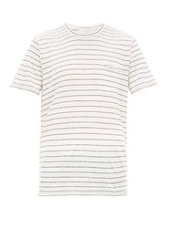 Rag And Bone Owen Striped Slubbed Linen T Shirt Beige Multi