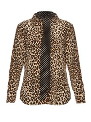 Equipment X Kate Moss Slim Signature Silk Blouse Leopard
