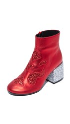 Maison Martin Margiela Glam Rock Flare Booties Red Red Silver