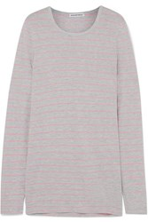 Alexander Wang T By Striped Slub Jersey Top Gray