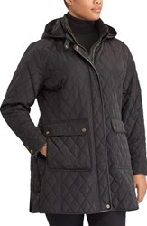 Lauren Ralph Lauren Plus Size Women's Diamond Quilted Jacket With Faux Leather Trim Black
