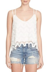 1.State Strappy Scalloped Tank White