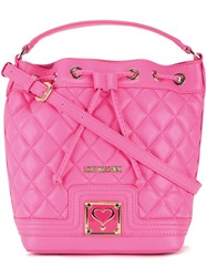 Love Moschino Quilted Drawstring Crossbody Bag Pink Purple