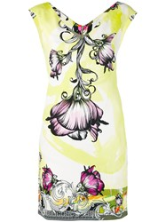 Versace Collection Floral Print V Neck Dress Women Cotton Spandex Elastane Viscose 40 Yellow