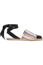 Loeffler Randall Striped Woven And Leather Espadrilles Multicolor