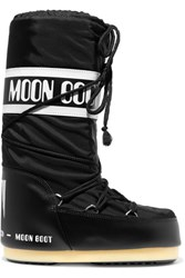 Moon Boot Shell Pique And Faux Leather Snow Boots Black