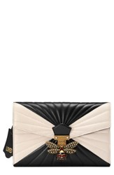 Gucci Queen Margaret Matelasse Leather Clutch Black Black White