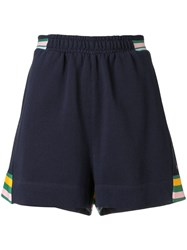 The Upside Striped Active Shorts Blue
