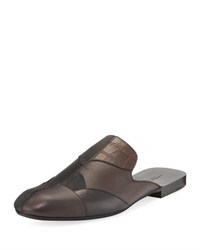 Bottega Veneta Men's Patchwork Leather And Suede Slipper Multicolor