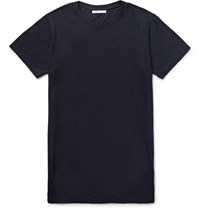 John Elliott Upima Cotton And Micro Modal Blend Jerey T Hirt Midnight Blue