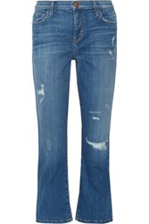 Current Elliott The Kick Distressed Mid Rise Flared Jeans Mid Denim