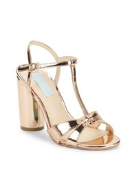 Betsey Johnson Luisa High Heel T Strap Sandals Rose Gold