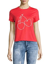 Lea And Viola Short Sleeve Cotton Cropped Tee Red