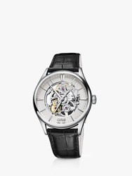 Oris 01 734 7721 4051 07 5 21 64Fc 'S Artelier Automatic Skeleton Leather Strap Watch Black Silver