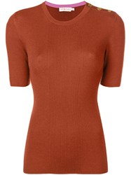 Tory Burch Taylor Ribbed Sweater Brown