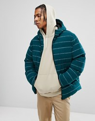 Asos Puffer Jacket With Print In Green Teal