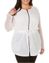 Rafaella Plus Zippered Geometric Lace Jacket White