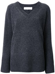 Le Ciel Bleu 'Boiled V Neck' Sweater Grey