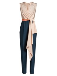 Roksanda Ilincic Rokuro Sleeveless Draped Panel Jumpsuit Pink Multi