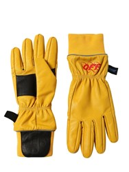 Off White Leather Rib Cuff Gloves Yellow