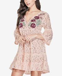 Guess Capri Embroidered Lace Dress Cloud Pink