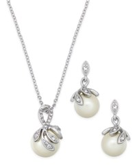 Charter Club Silver Tone Pave Imitation Pearl Pendant Necklace And Matching Drop Earrings Set Only At Macy's