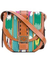 Etro Boho Print Crossbody Bag Women Cotton Leather Polyester One Size Brown