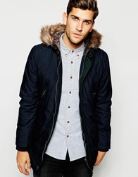 Ted Baker Parka With Faux Fur Hood Navy