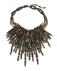 Alexis Bittar Cascading Pearly Pyrite Necklace Ruthenium