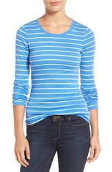 Caslonr Women's Caslon Long Sleeve Scoop Neck Cotton Tee Blue White Stripe