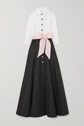 Carolina Herrera Belted Two Tone Silk Faille Gown Black