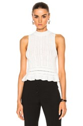3.1 Phillip Lim Compact Pointelle Lace Cropped Tank In White